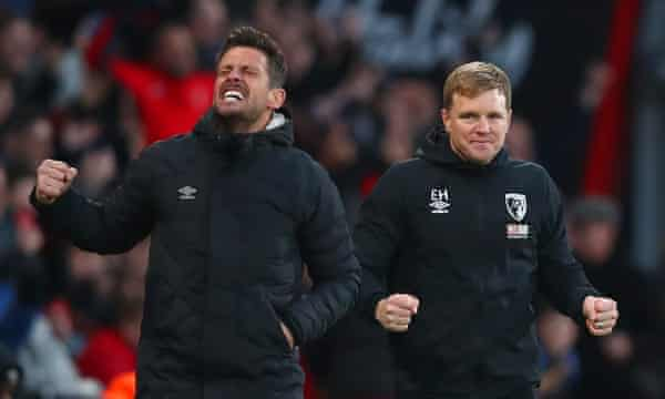 Jason Tindall and Eddie Howe (right) celebrate Bournemouth's victory over Aston Villa in February 2020.