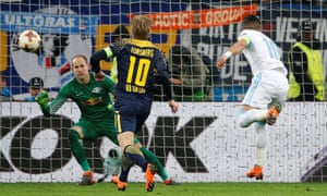 Marseille's Dimitri Payet scores their fourth goal against RB Leipzig.