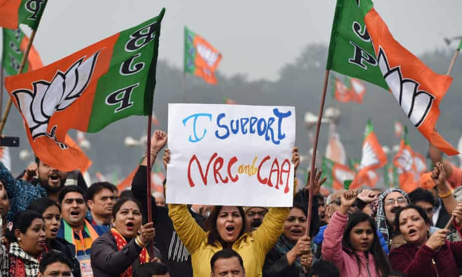 BJP supporters at a rally in New Delhi in December 2019.