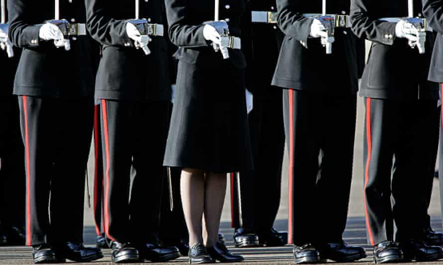 Male and female officer cadets at Sandhurst Royal Military Academy.