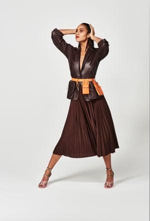Shirt, skirt, shoes and leather belt bag, all fendi.com
