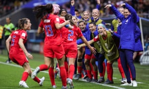 The USA players and bench celebrate Mallory Pugh's goal against Thailand, the 11th in their 13-0 World Cup record win.