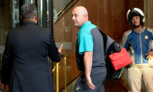 Coach Darren Lehmann and the team arrive at Sandton Towers hotel in Johannesburg.