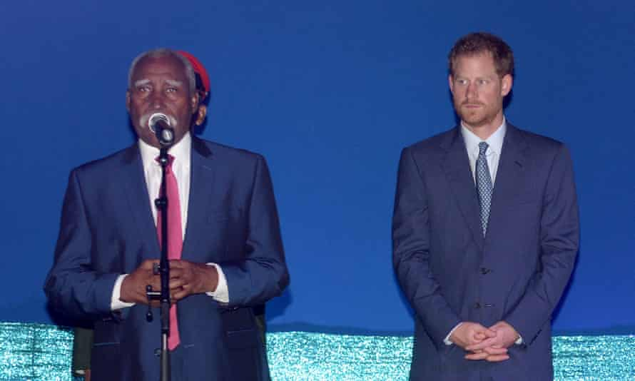Governor general of St Vincent Sir Frederick Ballantyne with Prince Harry.