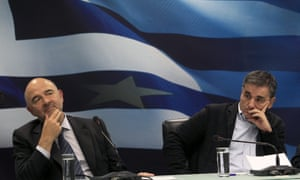 EU commissioner Pierre Moscovici and Greek finance minister Euclid Tsakalotos in Athens last year.