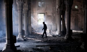 The burnt-out mosque at Rabaa al-Adawiya, Cairo, 15 August 2013