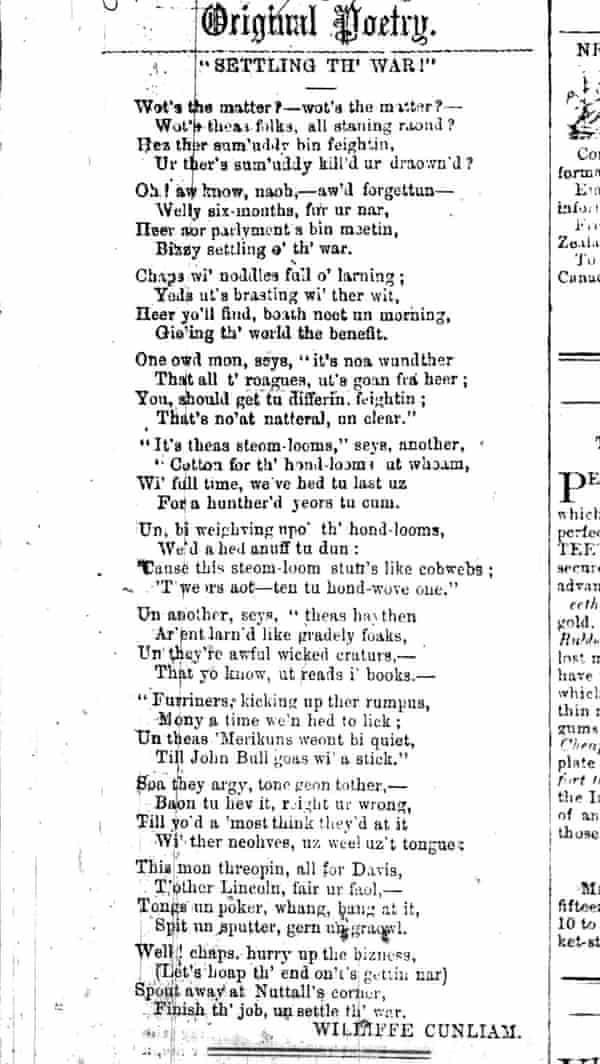 Settlin the War - poem by Williffe Cunliam, printed in a local newspaper in 1868.