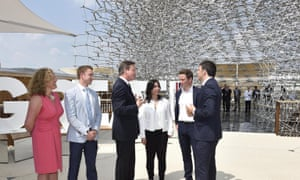 Cameron and Renzi with business people during an event at the Milan Expo 2015 global fair in Milan