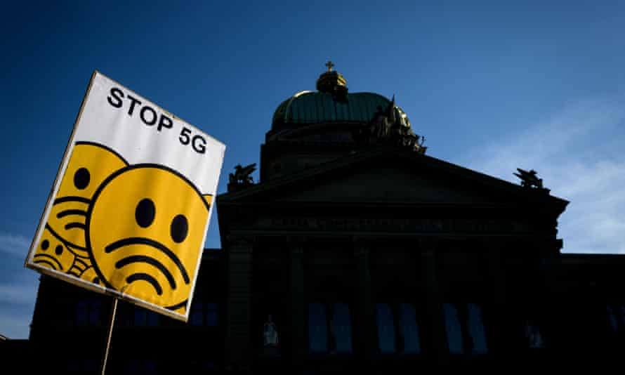 Placard during nationwide protest against 5G technology in front of the Swiss house of Parliament in Bern