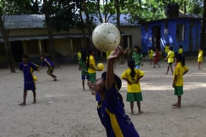 Close concentration while practising ball skills