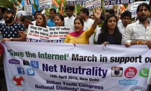 Activists of the Indian Youth Congress and National Students Union of India in an anti-government protest in support of net neutrality in New Delhi last year.