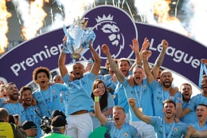 12 May 2019: Kompany lifts the Premier League trophy at Brighton, to celebrate his fourth title.