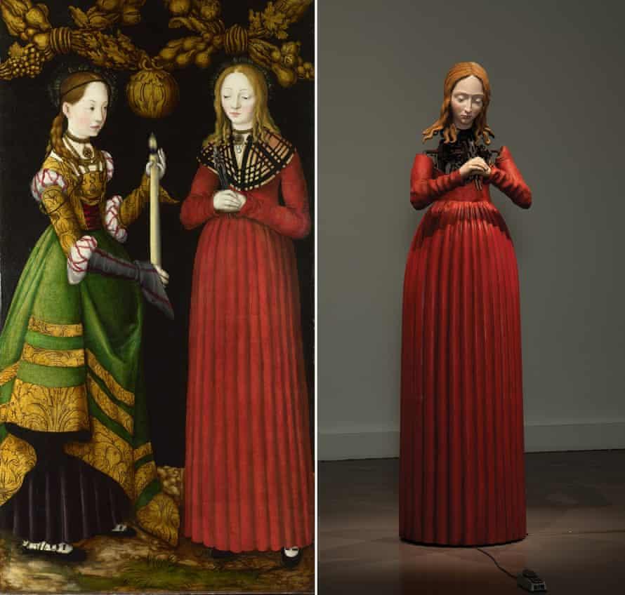 Saints Genevieve and Apollonia, 1506 by Lucas Cranach the Elder, left, and Michael Landy's Saint Apollonia, 2013.