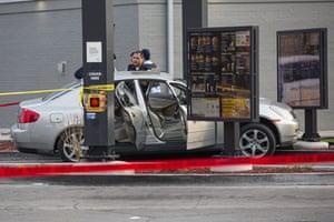 Chicago, US. Police investigate a crime scene following a fatal shooting at a McDonald's drive-thru
