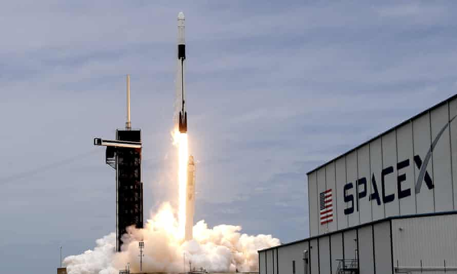 A SpaceX Falcon 9 rocket with a Dragon 2 spacecraft lifts off at the Kennedy Space Center on Thursday.