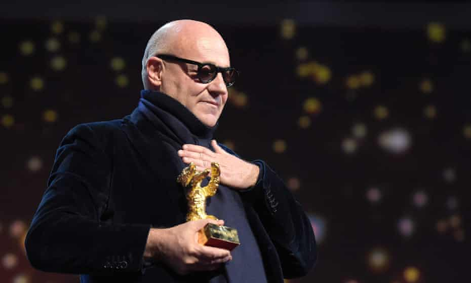Gianfranco Rosi receives the Golden Bear for Fire at Sea at the Berlin film festival 2016