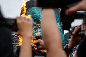 A burning effigy of Philippine President Rodrigo Duterte