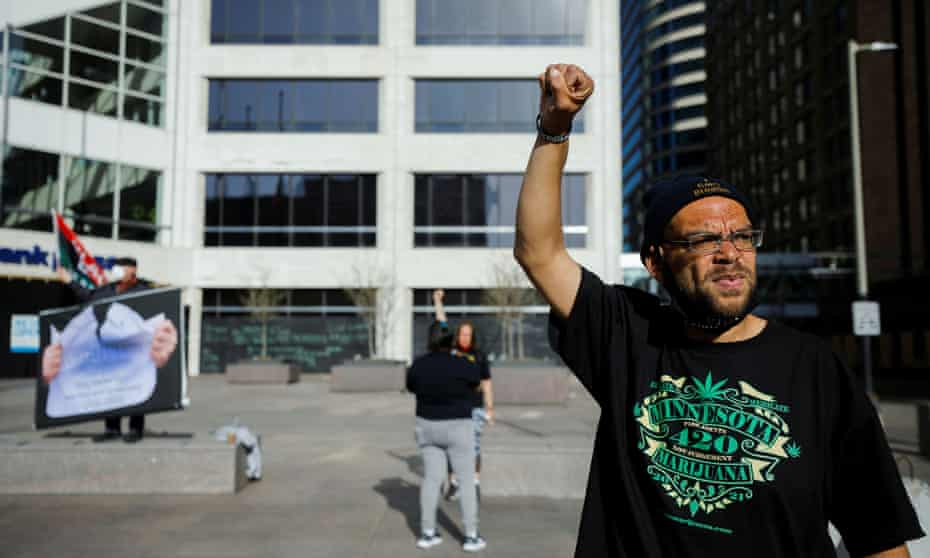 Chaz Neal outside the Hennepin county courthouse. 'Seeing that video last year changed my life. I wanted to be a part of the solution instead of the problem.'