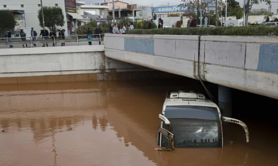A submerged coach in Elefsina, western Athens