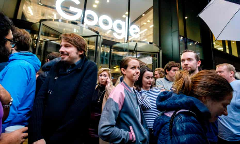 Staff protest outside Google's UK headquarters in London last year as part of a global campaign on the company's handling of sexual harassment claims.