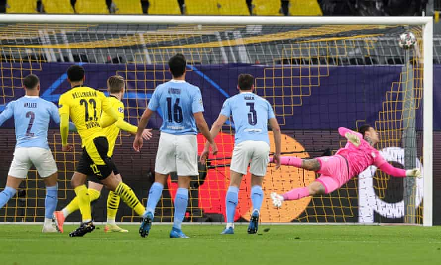 Jude Bellingham's shot beats Ederson to put Dortmund 1-0 up and ahead on away goals.
