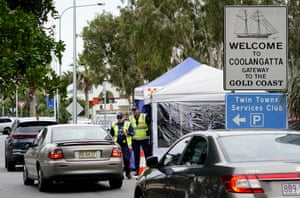 Queensland police officers operating a vehicle checkpoint at Coolangatta on the Queensland-New South Wales border last month.