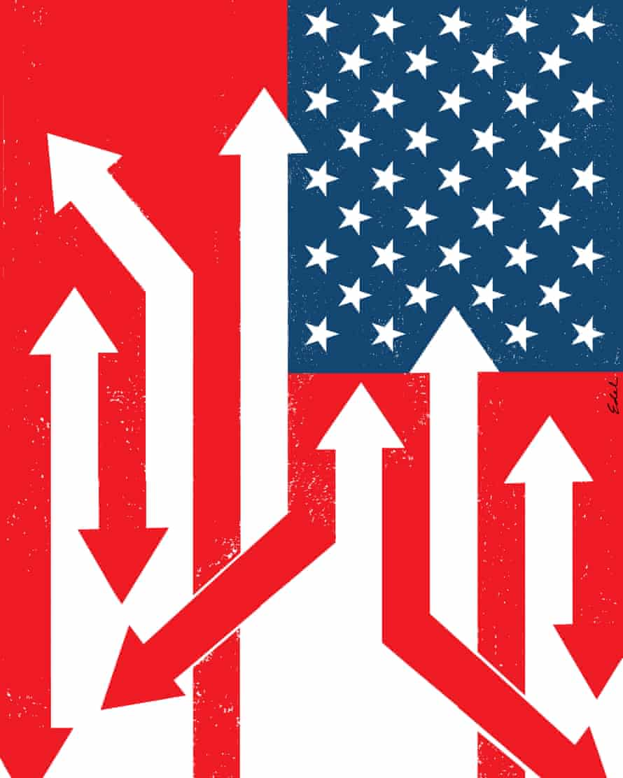 US flag with arrows for Review magazine cover