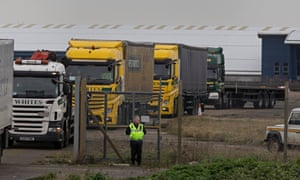Lorries leaving Manston airfield in Kent