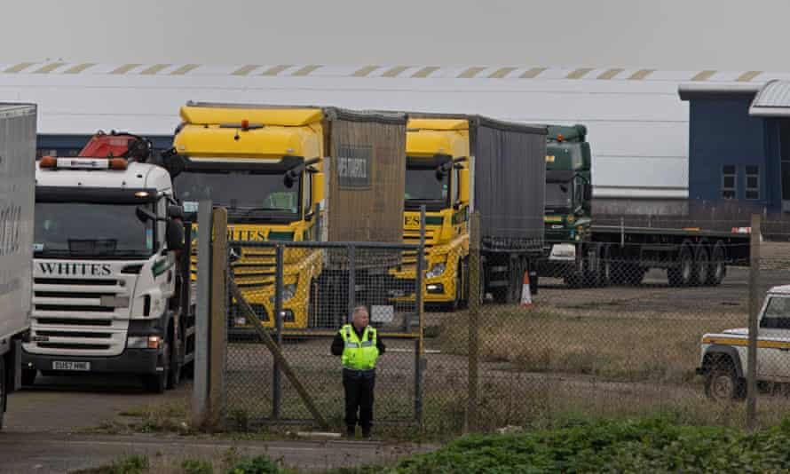Lorries leaving Manston airfield in Kent