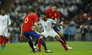 Raheem Sterling is handled by Vitolo.