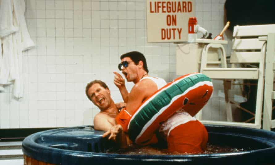 The shallow end: with Jim Carrey in a sketch for Saturday Night Live in 1996 called 'Jacuzzi Lifeguard'.