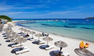 France, Corse du Sud, Zonza, Sainte Lucie de Porto Vecchio, Pinarello hotel beach