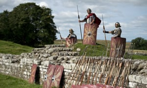 """Reenactors portraying soldiers from the Imperial Roman Army pose for a photograph to promote English Heritage's history weekend, """"Hadrians Wall Live"""", at Birdoswald Roman Fort near Gilsland, northern England, UK"""