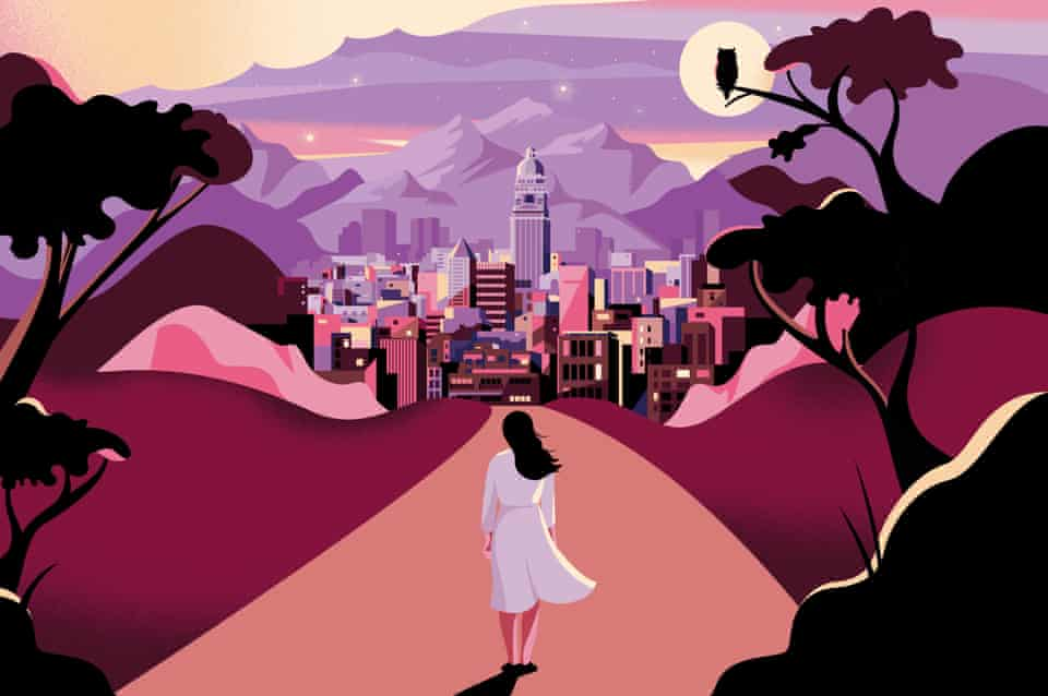 Illustration of a young woman looking at a magical scene of Tehran