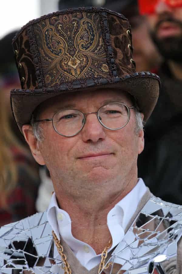 Top of the crop: Eric Schmidt in his party hat.