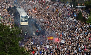 Real Madrid's team bus had edged its way to the stadium amid fireworks and fans – thousands of them.