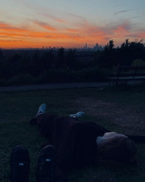 Helly Cunningham watching the sun set in Dawson Hill Park, on the first night she was reunited with her best friend during lockdown