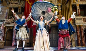 Angus Imrie as Ned Spiggett, Gugu Mbatha-Raw as Nell Gwynn and Amanda Lawrence as Nancy in Nell Gwynn by Jessica Swale at Shakespeare's Globe.