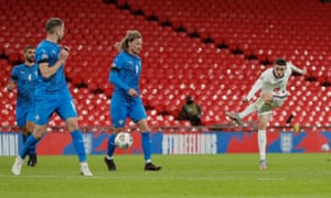 England's Phil Foden scores their fourth goal.