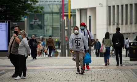Shoppers wearing masks in Birmingham city centre.