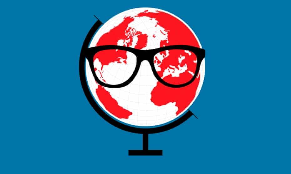 globe wearing glasses illustration