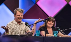 Paul Merton and fellow comic Janey Godley recording Just a Minute