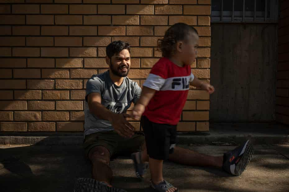Isaiah Sines with his 19-month-old son