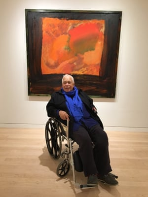 Hodgkin in front of his work Blackmail.