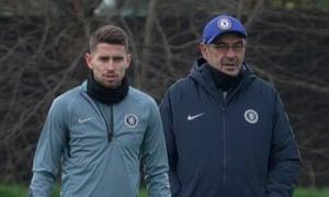 Jorginho (left) says he wants to show Chelsea fans why Maurizio Sarri likes him.