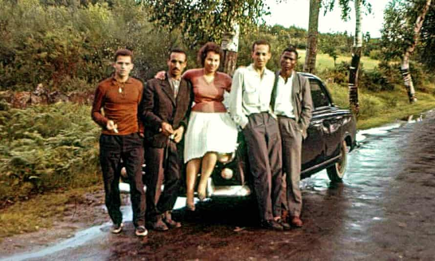 On the road to freedom: five of the students pose en route to France from Spain. Iko Carreira is second from right.