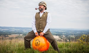 Steven Payne on a space hopper on the South Downs