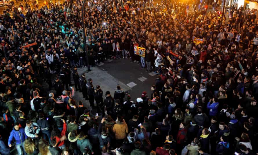 Valencia supporters take part in a demonstration against the club's owner, Peter Lim, earlier this month as their terrible La Liga season continued.