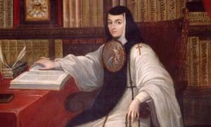 Sister Juana Inés of de la Cruz, in a portrait by Miguel Cabrera.