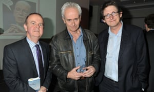 Rusbridger with Guardian reporter Nick Davies and Ian Hislop at the 2012 Paul Foot award in London